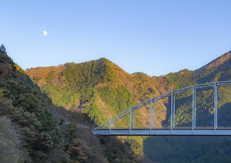 さめうらダムから見た大川橋と月