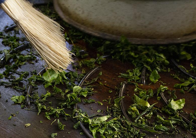 玉緑茶:茶揉み