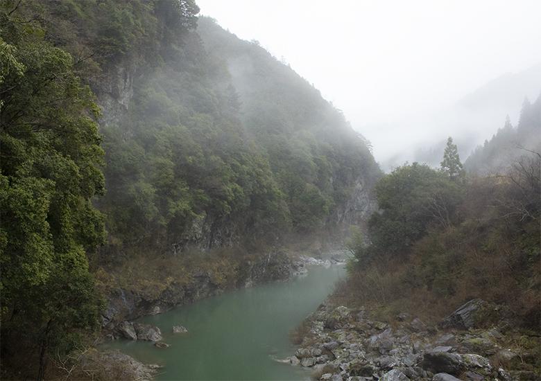 早春の雨の吉野川